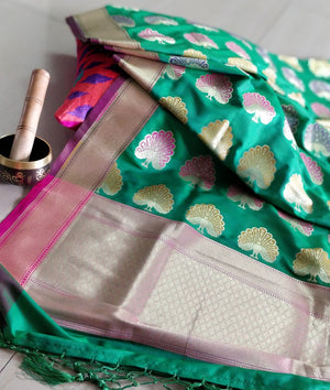 Multicolor peacock design on green silk dupatta - EthnicRoom