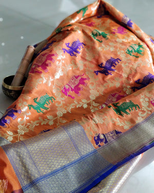 Multicolor animals on orange silk dupatta - EthnicRoom