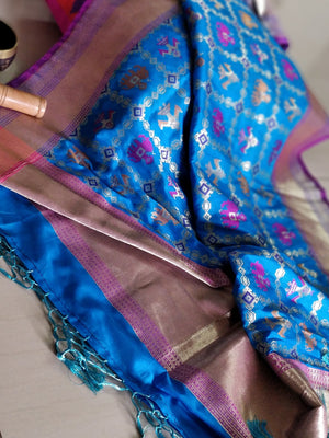 Multicolor ancient motifs on blue silk dupatta - EthnicRoom