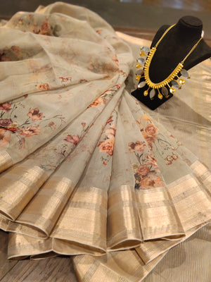 Beige digital print kora saree with golden zari border