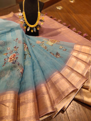 Blue floral digital print kora saree