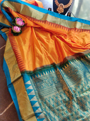 Pure katan traditional south silk in orange with blue border