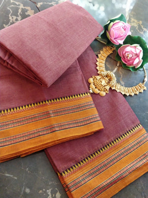 Brownish red south cotton narayanpet saree with mustard border