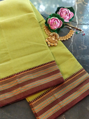 Fresh green south cotton narayanpet saree with brown border