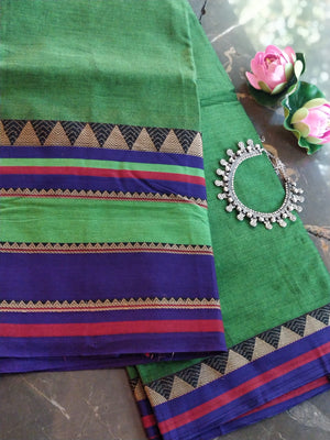 Green south cotton saree with wide border of purple