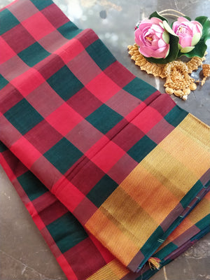 Broad checks of red and green south cotton narayanpeth saree