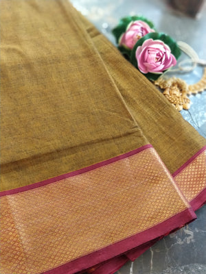 Brown south cotton narayanpet saree with orange zari border