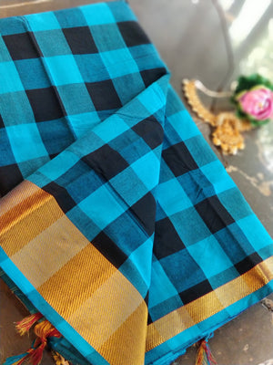 Broad checks of blue and black narayanpeth south cotton saree