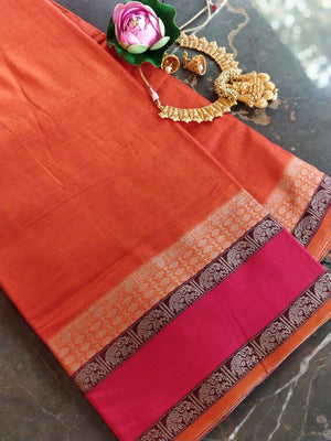 Orange south cotton narayanpet saree with red elephant border