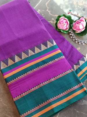 Purple south cotton narayanpet saree with wide border of green