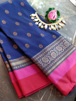 Royal blue soft silk with bright red border and booties allover