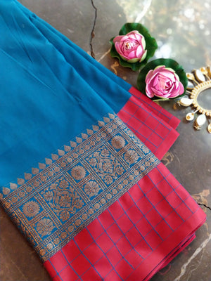 Blue plain soft silk with red border, aanchal & blouse