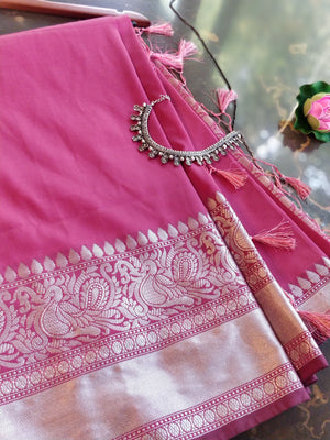 Pink Soft silk saree with silver zari border, brocade blouse and blouse