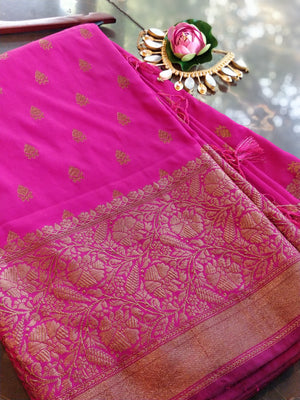 Bright pink soft silk with antique gold zari border