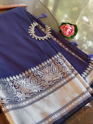 Navy blue plain soft silk saree with silver zari border