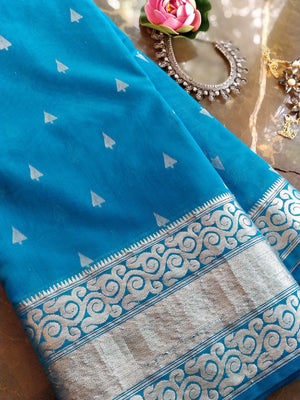 Blue chanderi silk with silver booties all over and border