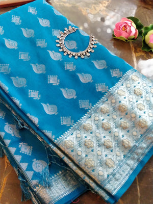 Blue chanderi saree with all over sliver zari bootties and zari border
