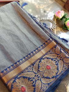 Blue Chanderi saree with golden zari weaving