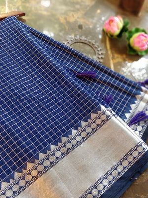 Blue check chanderi saree with sliver zari weaving and sliver border