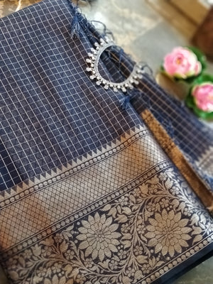 Navy blue check chanderi saree with golden zari weaving
