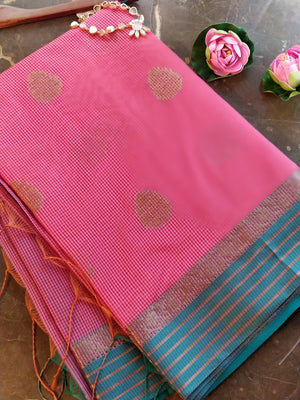 Pink chanderi saree with all over small checks and zari  bootties