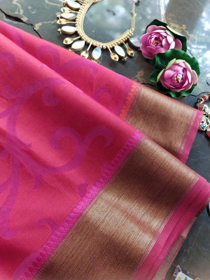 Red kota saree with light pink jaal overall and golden zari weaving