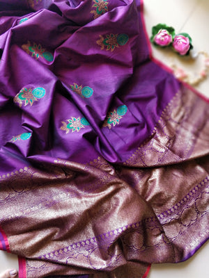 Purple pure raw silk saree with golden booties all over