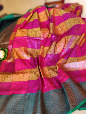 Multicolor check pure silk saree with golden weaving all over