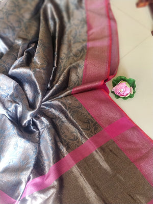 Grey pure silk saree with golden zari weaving all over