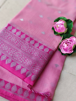 Light pink kota saree with silver zari weaving on pink border and silver booties all over