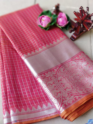 Orange check Chanderi saree with silver border and sliver zari weaving
