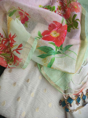 Light Green chanderi dress material with zari booties and digital printed linen dupatta