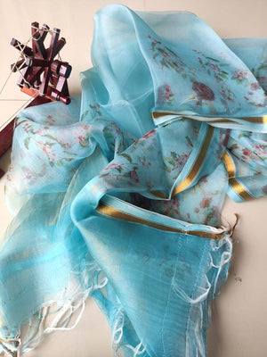 Blue shaded floral digital print kora dupatta