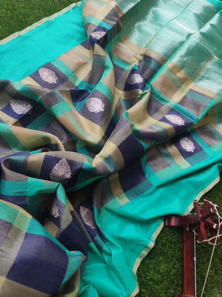 Multicolor check pure kora silk saree with golden zari butties