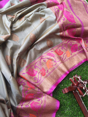 Grey pure raw silk saree with golden zari weaving and booties all over