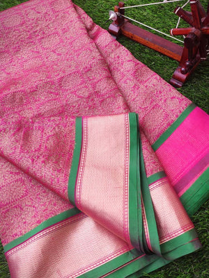 Pink katan tusser silk saree with golden weaving all over and golden border