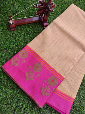 Zari yellow kota saree with contrasting pink border and blouse