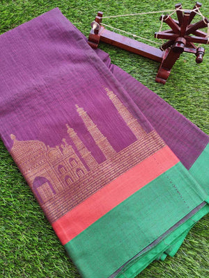 Tajmahal border on wine color chanderi saree with contrast border and blouse