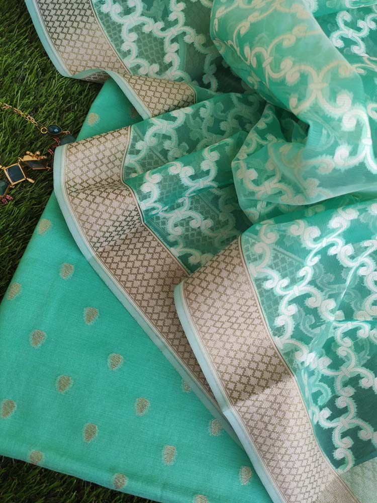 Green chanderi booties woven all over dress material with organza woven dupatta