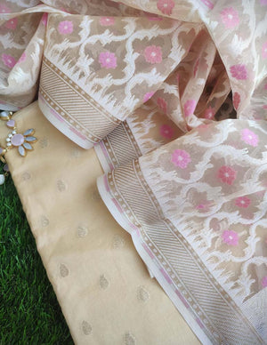 Beige/Cream chanderi booties woven all over dress material with organza woven dupatta