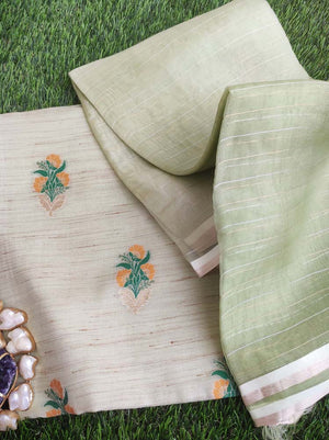 Pista green silk booties woven dress material with organza dupatta