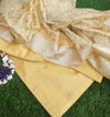 Lemon yellow dyeable chanderi woven dress material with embroidered organza dupatta