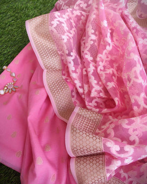 Pink chanderi booties woven all over dress material with organza woven dupatta