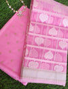 Pink chanderi booties woven all over dress material with organza resham woven dupatta