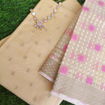 Beige chanderi booties woven all over dress material with organza woven dupatta