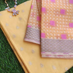 Yellow chanderi booties woven all over dress material with organza woven dupatta