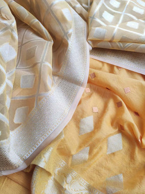 Yellow embroidered chanderi dress material with organza zari woven dupatta