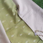 Green chanderi woven dress material with zari booties & lilac chanderi zari woven dupatta