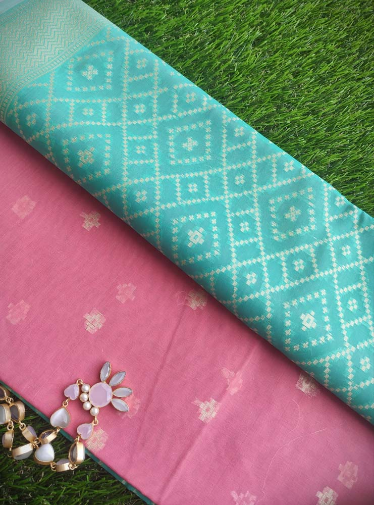 Pink chanderi woven dress material with zari booties & Green chanderi zari woven dupatta