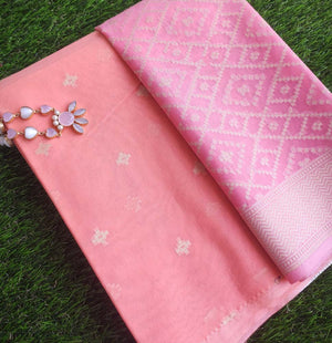 Peach chanderi woven dress material with zari booties & Pink chanderi zari woven dupatta